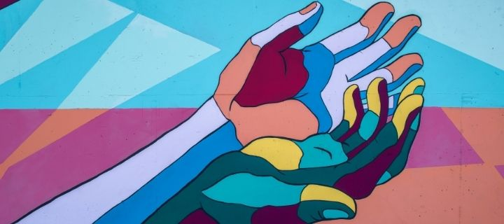 Hands painted on a wall